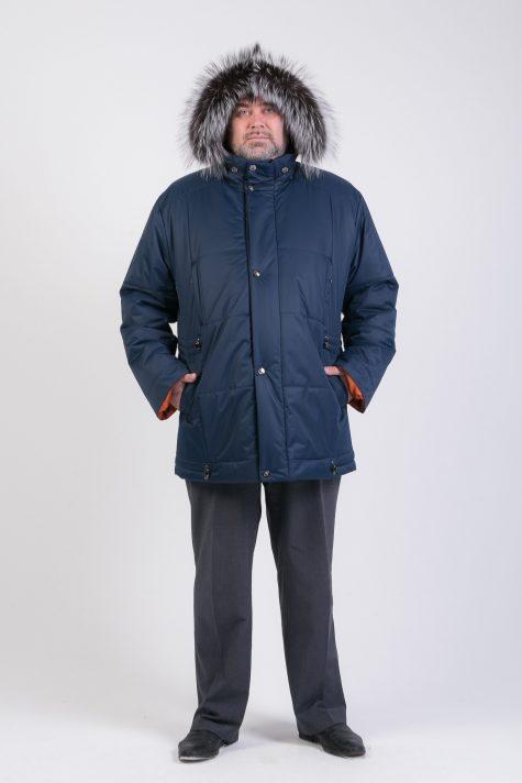 Курка Аляска с чернобуркой на капюшоне, цвет синий в интернет-магазине Фабрики Тревери