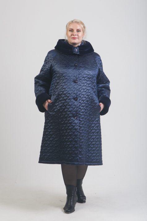 Пальто еврозима с меховым капюшоном, цвет синий в интернет-магазине Фабрики Тревери