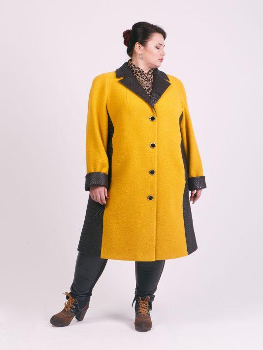 Пальто из драпа и стежки, цвет рыжий в интернет-магазине Фабрики Тревери