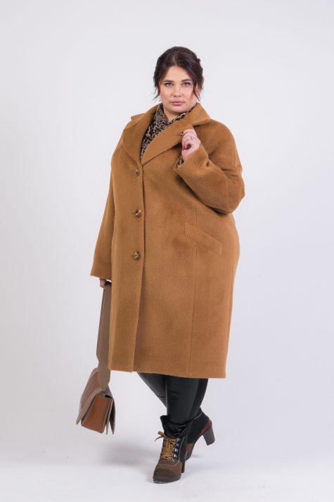 Пальто кокон из ворсового драпа, цвет рыжий в интернет-магазине Фабрики Тревери