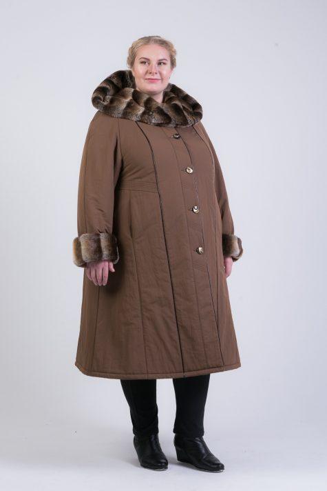 Теплое пальто из плащевки с меховой отделкой, цвет коричневый в интернет-магазине Фабрики Тревери