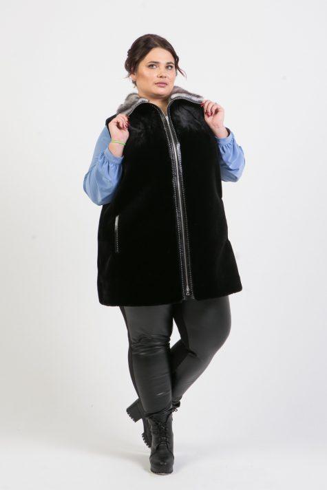 Женский жилет из мутона, цвет черный в интернет-магазине Фабрики Тревери