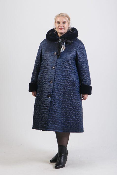 Зимнее пальто с меховой отделкой, цвет синий в интернет-магазине Фабрики Тревери