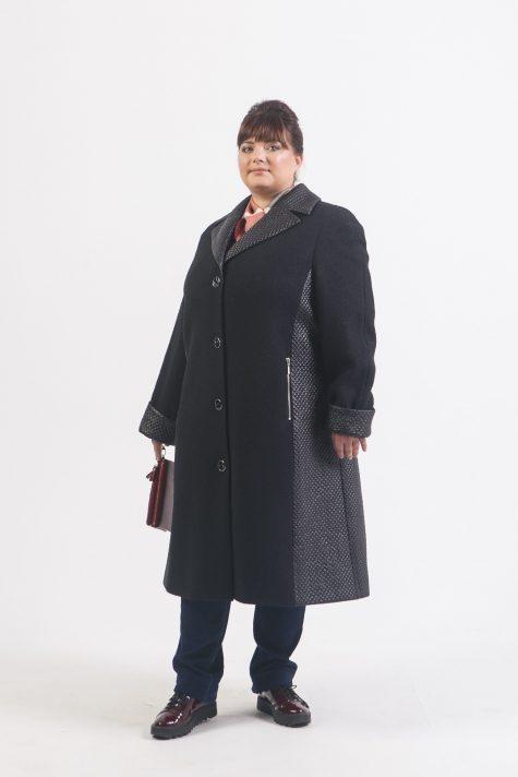Комбинированное пальто из драпа и стежки, цвет черный в интернет-магазине Фабрики Тревери