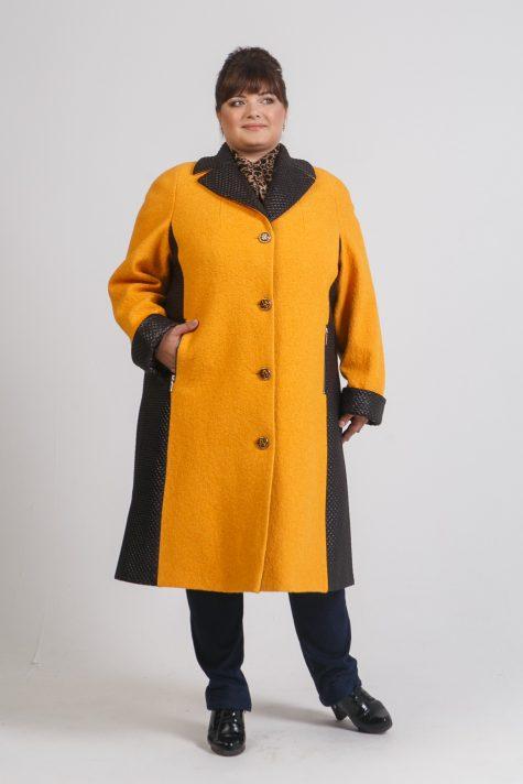 Комбинированное пальто из драпа и стежки, цвет рыжий в интернет-магазине Фабрики Тревери