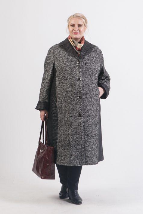 Комбинированное пальто из твида и стежки, цвет серый в интернет-магазине Фабрики Тревери