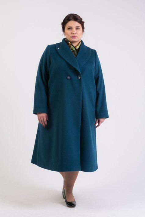 Демисезонное пальто редингот, цвет зеленый в интернет-магазине Фабрики Тревери