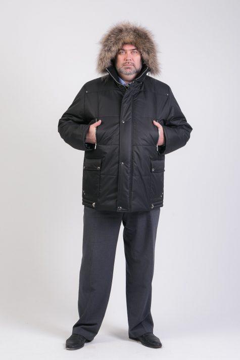Мужская Аляска с енотом, цвет черный в интернет-магазине Фабрики Тревери