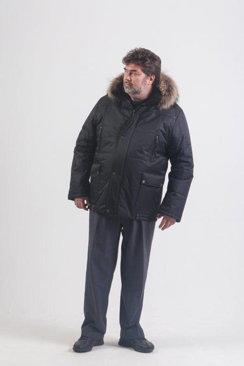 Мужская Аляска с енотом по капюшону, цвет черный в интернет-магазине Фабрики Тревери