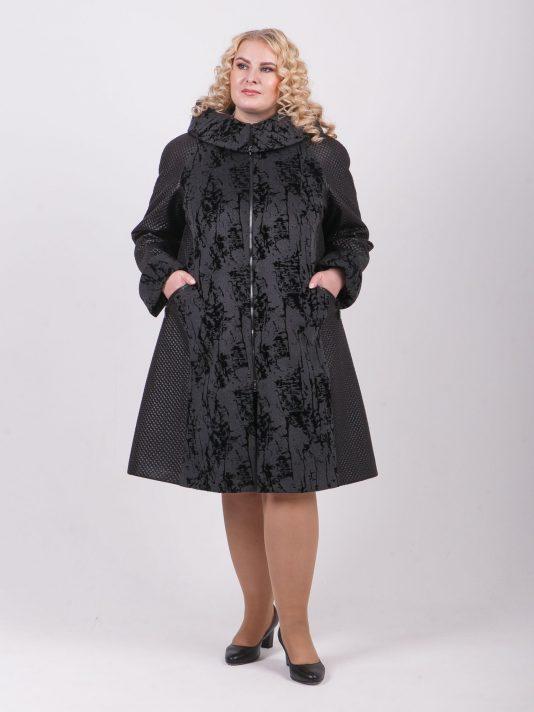 Комбинированное пальто на молнии, цвет серый в интернет-магазине Фабрики Тревери