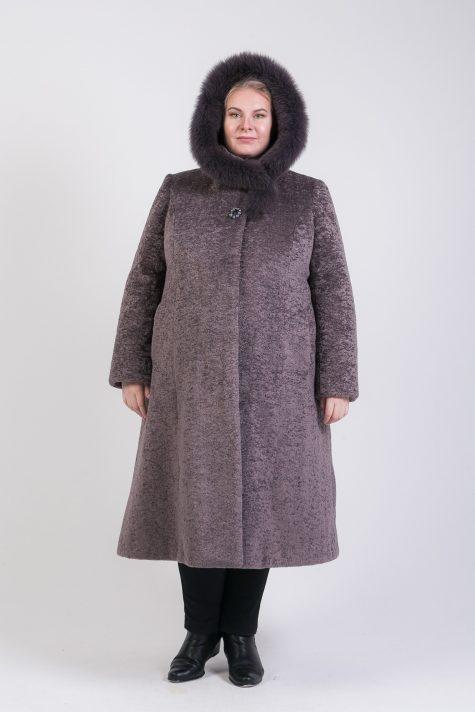 Меховое пальто  из астрагана с капюшоном, цвет серый в интернет-магазине Фабрики Тревери