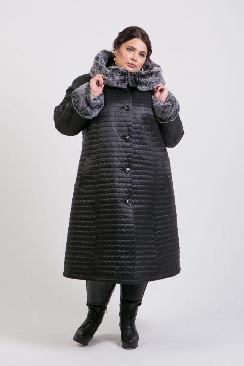 Пальто еврозима с меховым капюшоном, цвет черный в интернет-магазине Фабрики Тревери