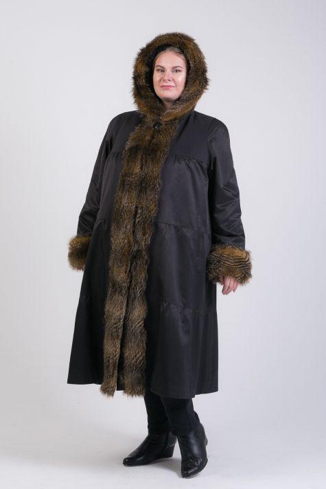 Зимнее пальто из плащевки с меховой отделкой, цвет черный в интернет-магазине Фабрики Тревери