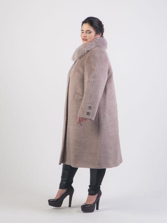 Пальто из Альпаки на верблюжьем утеплителе с воротником из Тосканы, цвет бежевый в интернет-магазине Фабрики Тревери