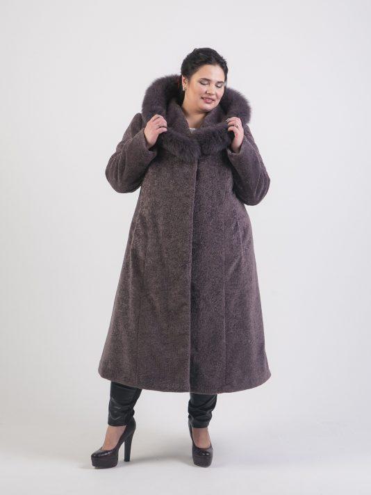 Шуба полуприталенного силуэта из эко-меха астраган, цвет серый в интернет-магазине Фабрики Тревери
