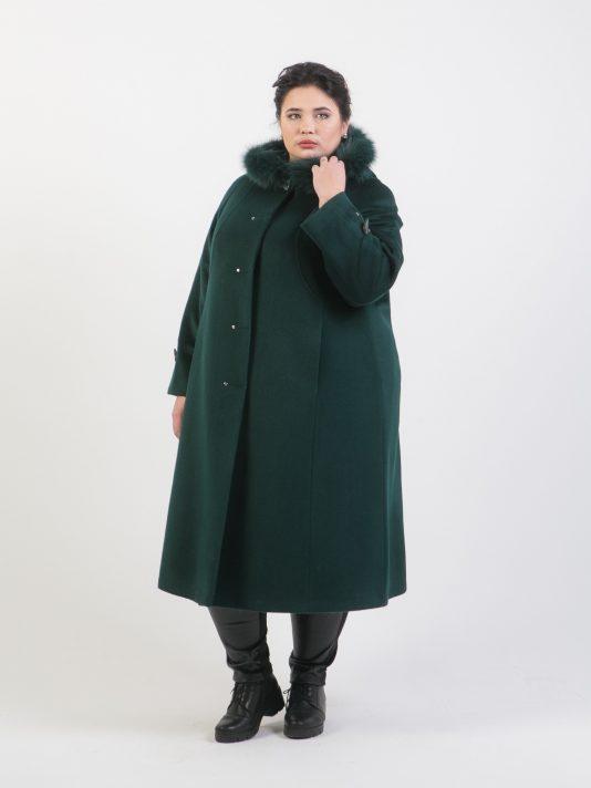 Зимнее пальто из шерстяного драпа с капюшоном, цвет зеленый в интернет-магазине Фабрики Тревери