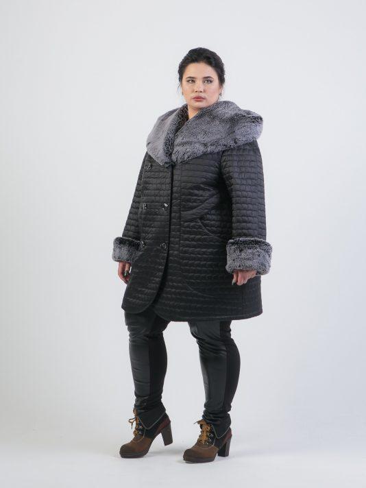 Зимнее полупальто с меховым капюшоном, цвет черный в интернет-магазине Фабрики Тревери