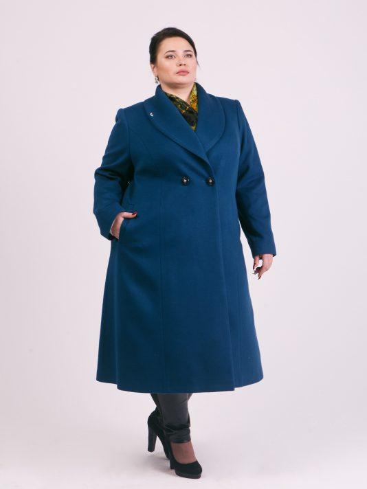 Демисезонное пальто из 100% шерсти и кашемира, цвет бирюзовый в интернет-магазине Фабрики Тревери