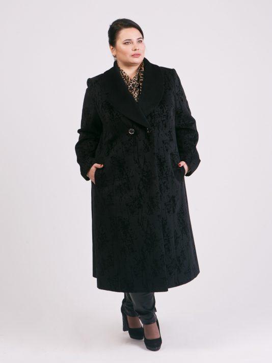 Демисезонное пальто редингот из флока, цвет черный в интернет-магазине Фабрики Тревери