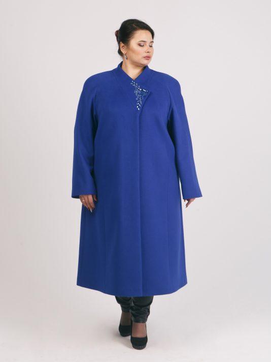 Демисезонное пальто со стразами, цвет синий в интернет-магазине Фабрики Тревери