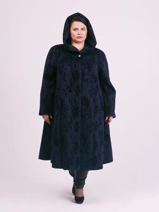 Демисезонное синее пальто с фалдами, цвет синий в интернет-магазине Фабрики Тревери
