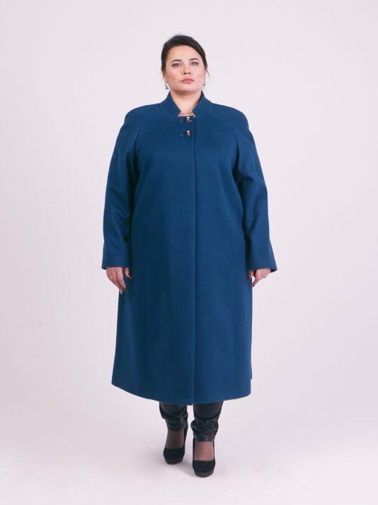 Длинное пальто из 100% шерсти и кашемира, цвет бирюзовый в интернет-магазине Фабрики Тревери