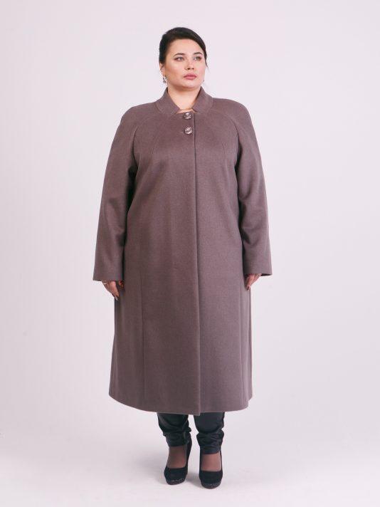 Длинное шерстяное пальто с воротником, цвет коричневый в интернет-магазине Фабрики Тревери