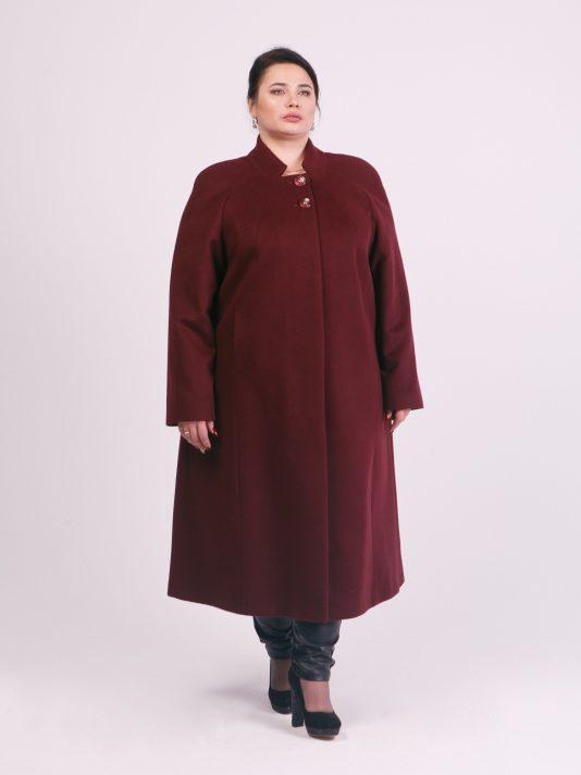 Длинное шерстяное пальто цвета бордо, цвет бордовый в интернет-магазине Фабрики Тревери