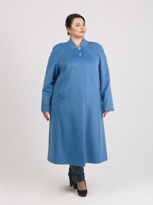 Голубое шерстяное пальто с ручным стежком, цвет голубой в интернет-магазине Фабрики Тревери