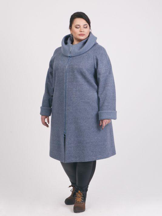 Пальто из двух видов драпа на молнии, цвет серый в интернет-магазине Фабрики Тревери