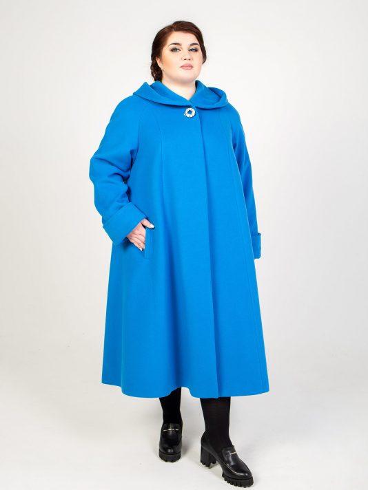 Длинное шерстяное пальто с капюшоном, цвет бирюзовый в интернет-магазине Фабрики Тревери