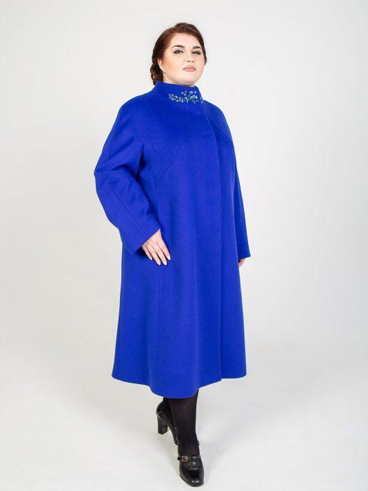 Длинное шерстяное пальто со стразами, цвет синий в интернет-магазине Фабрики Тревери