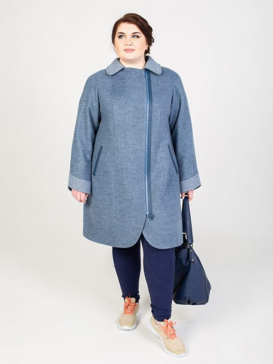 Пальто из драпа цвета деним на молнии, цвет голубой в интернет-магазине Фабрики Тревери