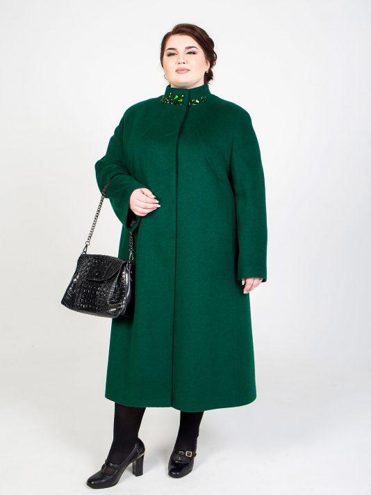 Шерстяное пальто на стойке со стразами, цвет зеленый в интернет-магазине Фабрики Тревери