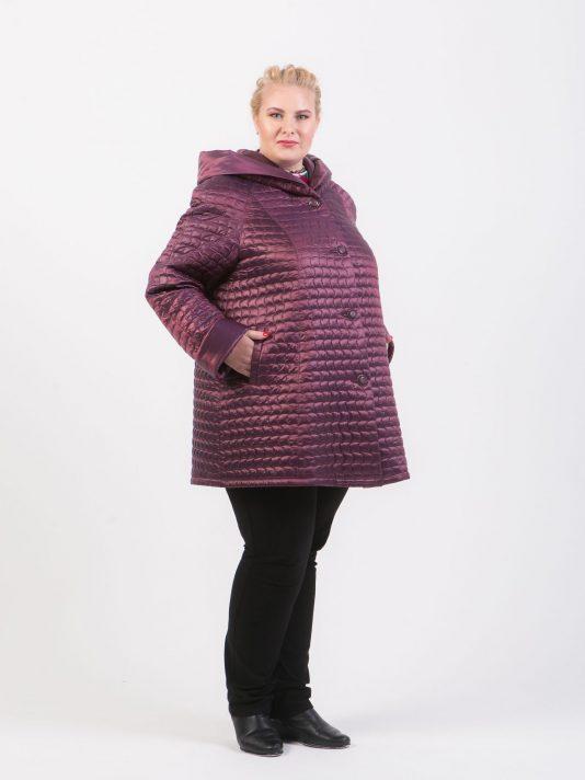 Демисезонная куртка трапеция, цвет бордовый в интернет-магазине Фабрики Тревери