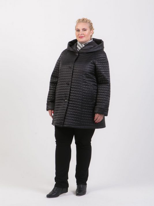 Демисезонная куртка трапеция, цвет черный в интернет-магазине Фабрики Тревери