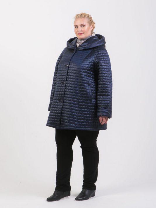 Демисезонная куртка трапеция, цвет синий в интернет-магазине Фабрики Тревери