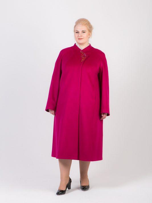 Демисезонное драповое пальто со стразами, цвет розовый в интернет-магазине Фабрики Тревери