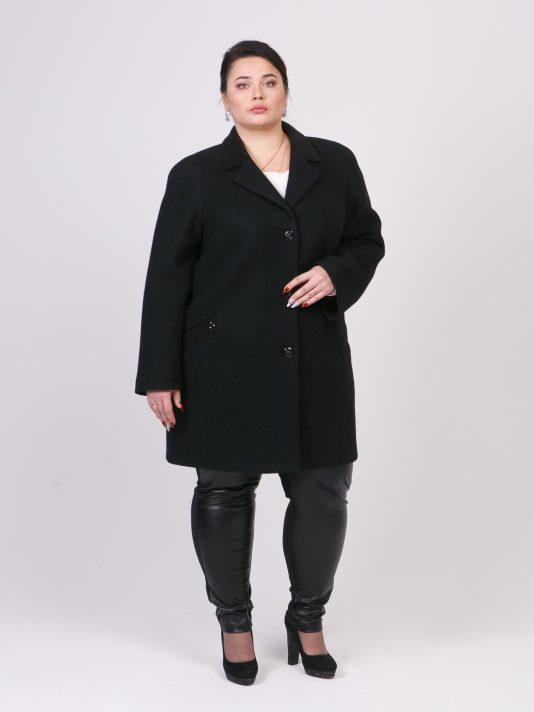 Демисезонное пальто кокон из вареной шерсти, цвет черный в интернет-магазине Фабрики Тревери
