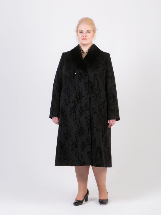 Демисезонное пальто с бархатной отделкой, цвет черный в интернет-магазине Фабрики Тревери