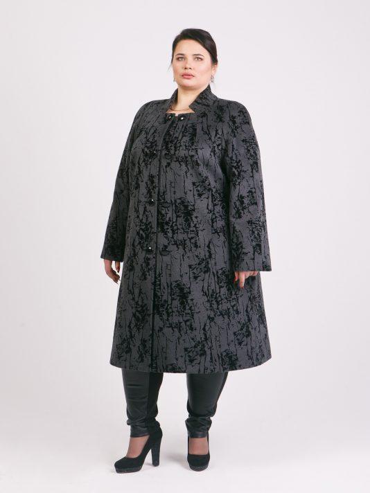 Демисезонное пальто с воротником стойка, цвет серый в интернет-магазине Фабрики Тревери