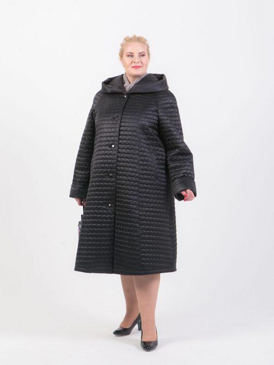 Длинное стеганное пальто трапеция, цвет черный в интернет-магазине Фабрики Тревери