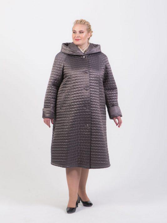 Длинное стеганное пальто трапеция, цвет серый в интернет-магазине Фабрики Тревери
