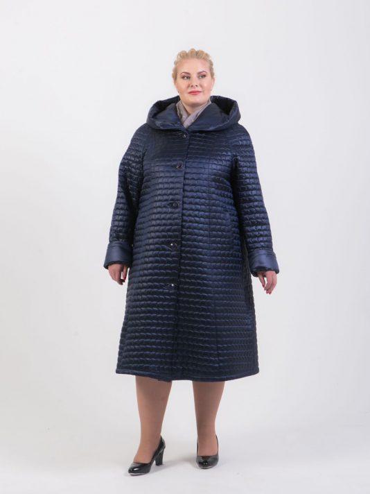 Длинное стеганное пальто трапеция, цвет синий в интернет-магазине Фабрики Тревери