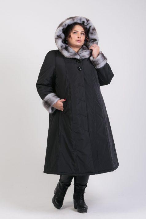 Зимнее пальто на двойном утеплителе с капюшоном из норки-крестовки, цвет черный в интернет-магазине Фабрики Тревери