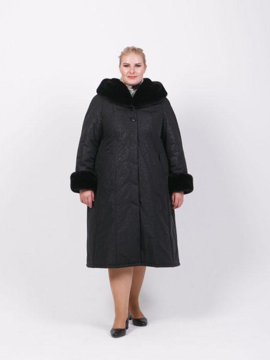 Черное зимнее пальто с меховым капюшоном из норки, цвет черный в интернет-магазине Фабрики Тревери