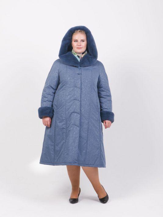 Зимнее пальто на двойном утеплителе с меховым капюшоном, цвет серый в интернет-магазине Фабрики Тревери