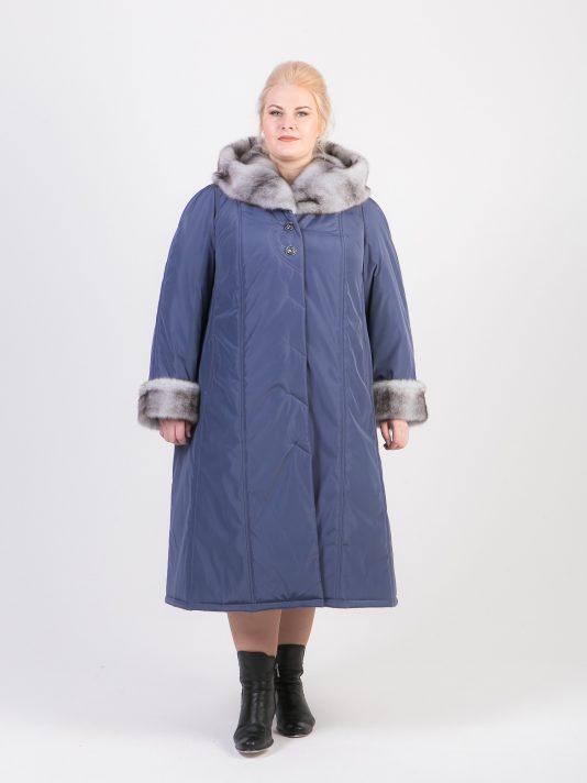 Зимнее пальто с меховым капюшоном, цвет серый в интернет-магазине Фабрики Тревери