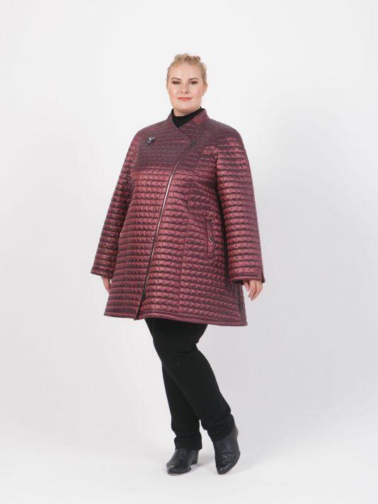 Демисезонная расклешенная куртка косуха, цвет бордовый в интернет-магазине Фабрики Тревери