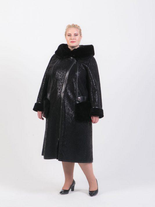 Дубленка на молнии с меховыми карманами и кожаной отделкой, цвет черный в интернет-магазине Фабрики Тревери